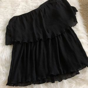 Black one shoulder pleated blouse large formal bus